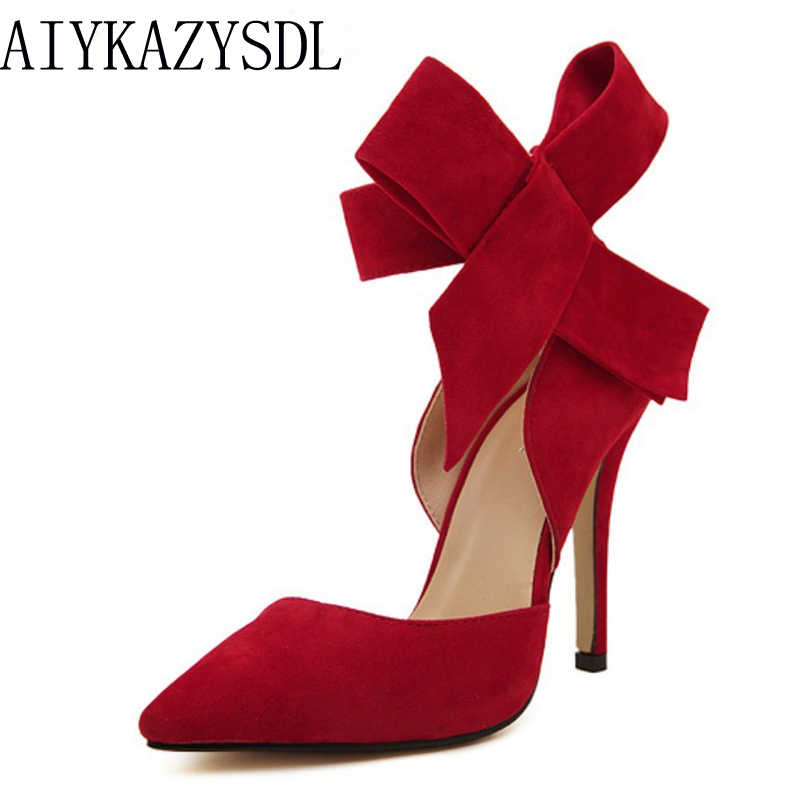 AIYKAZYSDL Plus Size 41 Women Big Bowtie Bow Pumps High Heel Woman Sandals Stiletto Wedding Party Dress Shoes Bowknot Detachable