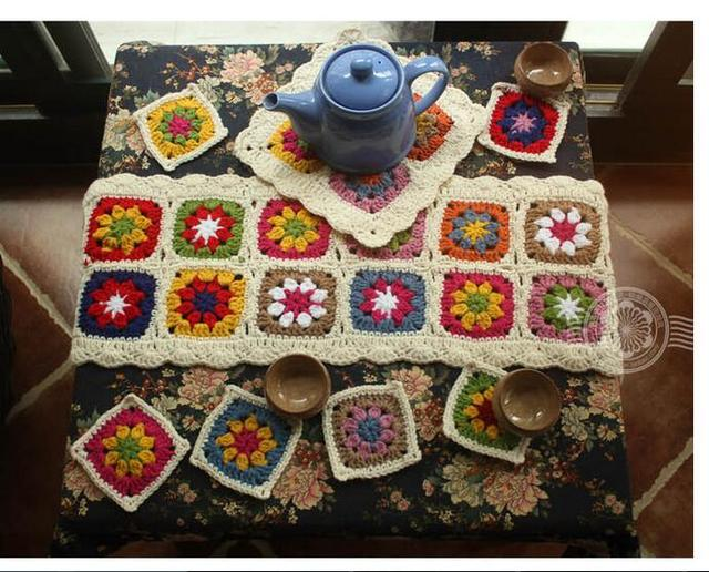 Bon Handmade Crochet Wool Tablecloths Table Cloth Coasters Teapot Mat Colorful  Table Runner Insulation Pad 8 Pieces