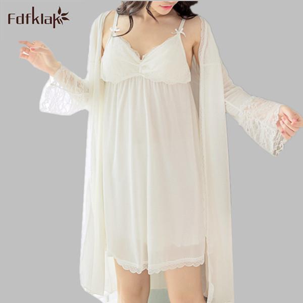 Fdfklak Alta Calidad 2017 Mujeres Robes Albornoz camisón de la Tentación Atractiva de Las Mujeres Ahueca Hacia Fuera los Pijamas Mujer Batas E0812