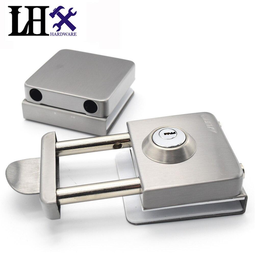 LHX CMMS237 quincaillerie serrure de porte intérieure coulissante en acier inoxydable avec 3 clés verrous de fenêtre en verre Cerradura