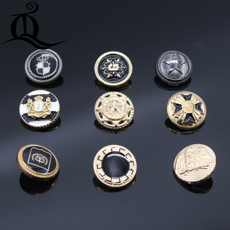22.5mm,10pcs new fashion mix brand button decorative buttons high quality metal buttons for men shirt suit sewing accessories