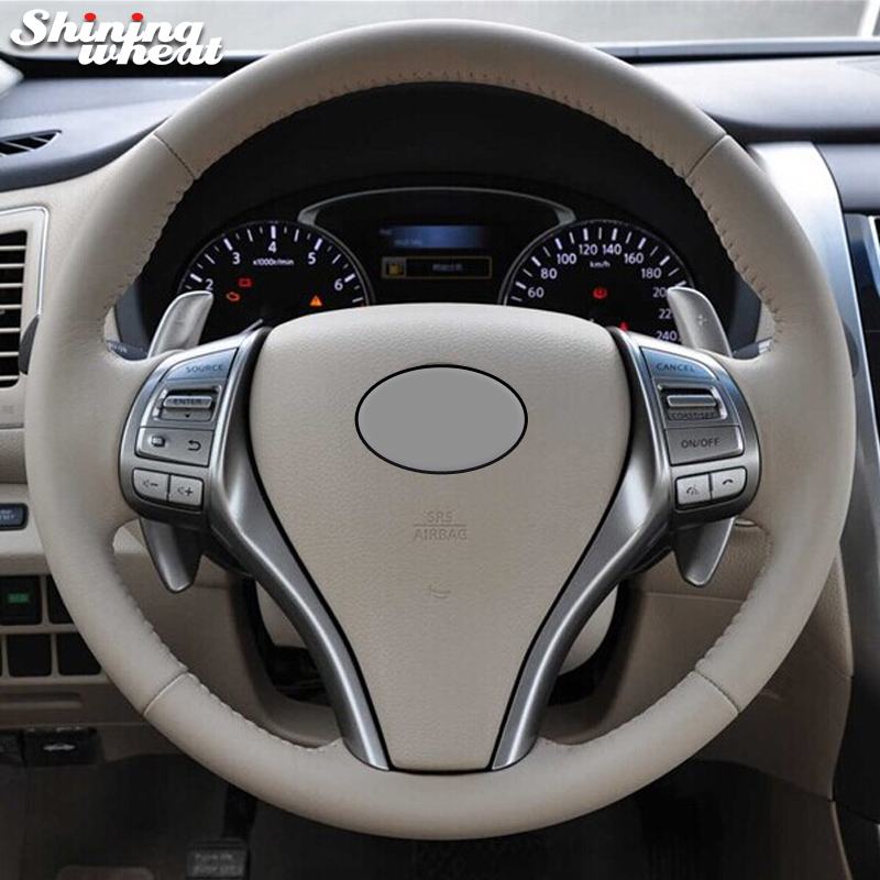 Shining wheat Hand-stitched Beige Genuine leather Steering Wheel Cover for Nissan 2013 Teana 2014 X-Trail QASHQAI Sentra цена