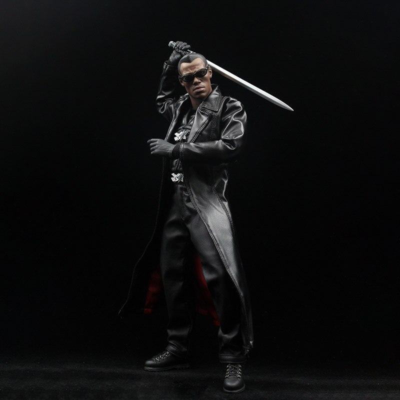 1/6 échelle Dwayne Johnson Blade guerrier Vampire chasseur costume en cuir ensemble de vêtements pour 12 pouces figurine accessoire de corps - 5