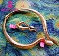 SERPIENTE ROJA de Alta Calidad Increíble Encanto Chapado En Oro Python Serpiente Collar Torques
