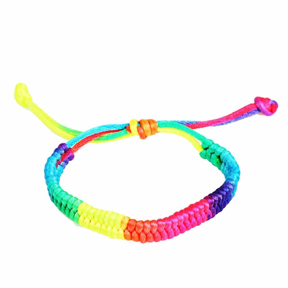 Stylowy bransoletka kobiety Boho romantyczny Bileklik Pulseira bransoletki pleciony Rainbow panie biżuteria Pulseras para bransoletka L0513