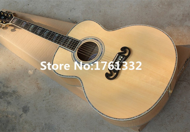 Factory Custom 43 Inch 20 Frets Natural Wood Color Acoustic Guitar