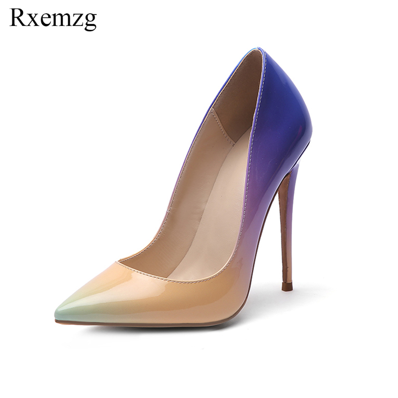 Rxemzg patent leather gradual change color women pumps pointed toe women shoes high heel 2019 new