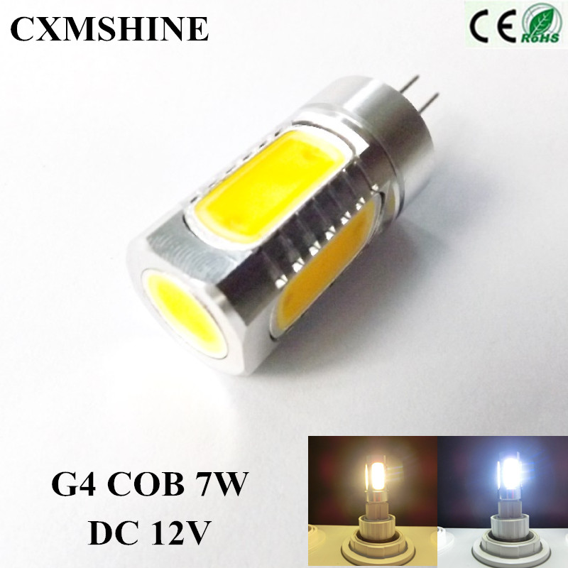 G4 base 7W High Power COB LED Warm White/White Light reading light led bulb lamps DC12V