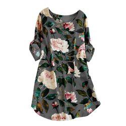 Słodki kwiat wzór druku Mini na co dzień Sukienka bawełniana dla kobiet O Neck kwiat Sukienka Vestidos Sukienka W Kwiaty Sukienki M ~ 5XL 3