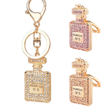 2017 New Design charm Crystal perfume bottle keychain fashion gold-plated key chain ring holder women bag&car accessories