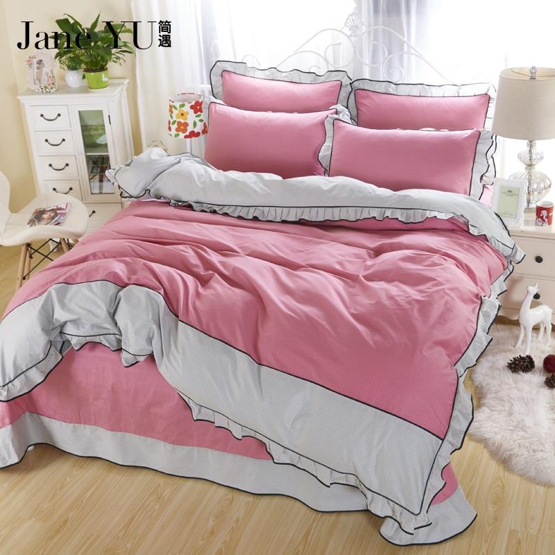 JaneYU Mode haute fin coton literie linge de lit fixe roi taille housse de couette + drap + taies d'oreiller