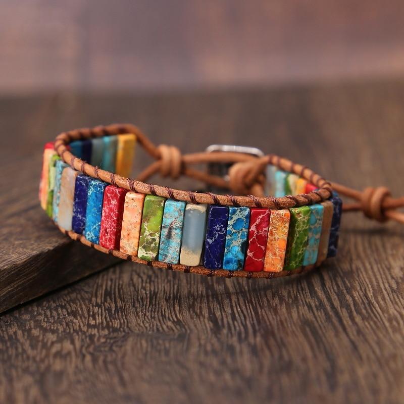 Chakra Bracelet Leather Wrap Boho Bracelet Natural Stone Wrap Single Wrap Adjustable Bracelet Wristband