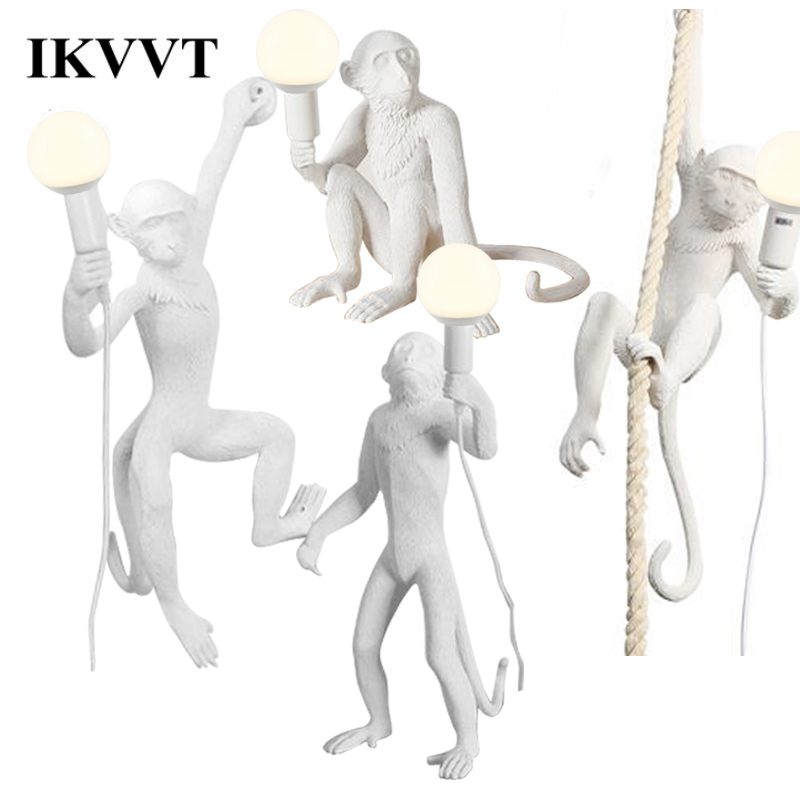Ceiling Lights & Fans Pendant Lights Ikvvt Modern Novelty Pendant Lights White/black/golden Monkey Resin Hanging Lamps Led Lighting Fixture For Home Restaurant Cafe Factories And Mines