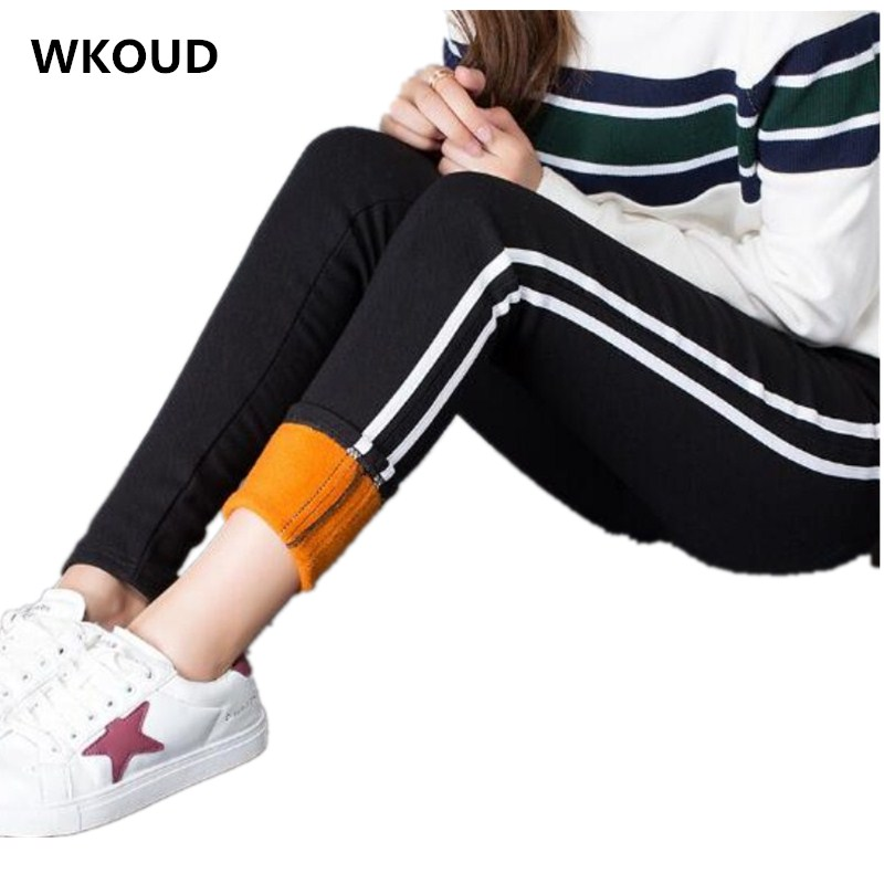 WKOUD Winter Pants Women Warm Leggings Black Side Striped Pencil Pants High Waist Thickening Skinny Trousers Plus Size P8540