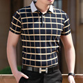 2017 new summer polo homme men Fashion short sleeve shirts men's business casual polo Lapel cotton breathable plaid masculino
