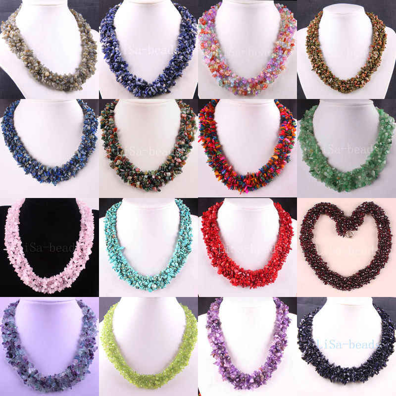 "Free Shipping 4X8MM Chip Beads Nylon Line Weave Coral Purple Crystal Howlite Crystal Opal Shell Lazuli Garnet Necklace 18"" 1Pcs"