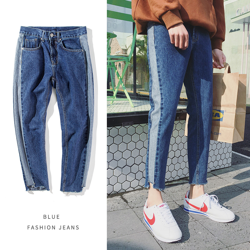 2018 Korean Style Men Wash Classic Blue Jeans Brand Stripe Stretch Slim Fit Homme Trousers Biker Denim Fashion Casual Pants 34 lenstid new italy classic blue denim pants men slim fit brand trousers male 2017 high quality cotton fashion jeans homme 6616