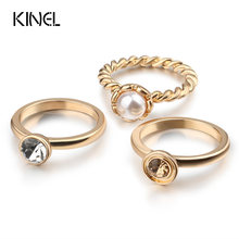 Kinel 2017 New Crystal Midi Ring Sets Fashion Vintage Jewelry Gold Color White Pearl Rings For Women Random Mix Size(China)