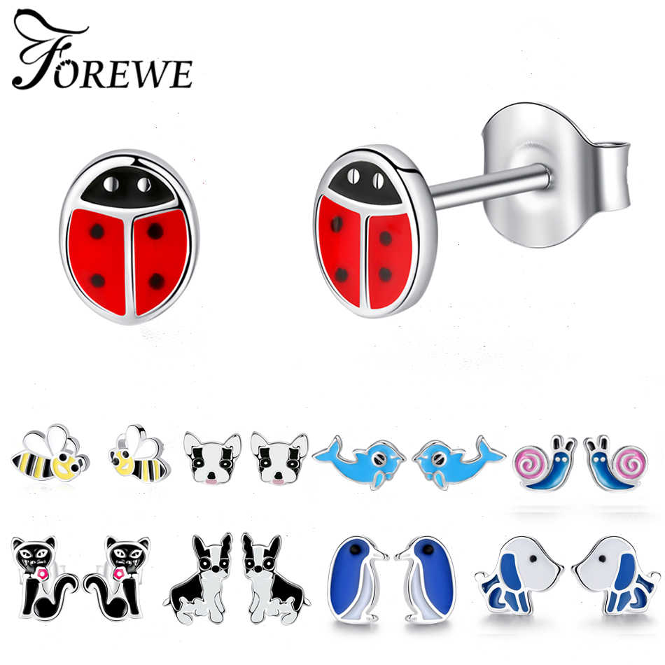 Fashion Cute Animals Bee Dolphin Cat Dog Ladybug Enamel Earrings 925 Sterling Silver Stud Earrings for Girls Kids Women Jewelry
