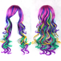 Fashion Cosplay Wigs Lolita Rainbow Curly Wigs Multi-colored Party Hair Women Wig