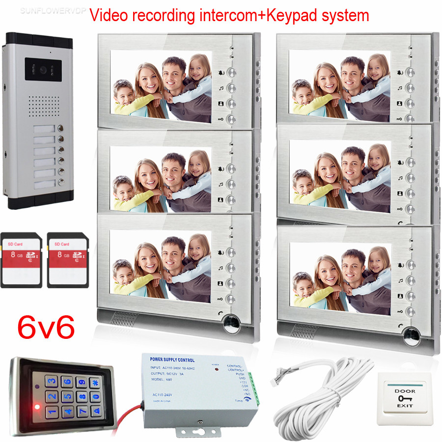 8GB SD Card Recording Video Intercom System Door Bell With Camera For 6 Apartments Doorphone With Rfid Password Keypad System video intercom door bell system 7 sd card indoor monitor recording video rfid card reader access control outdoor camera 4 keys
