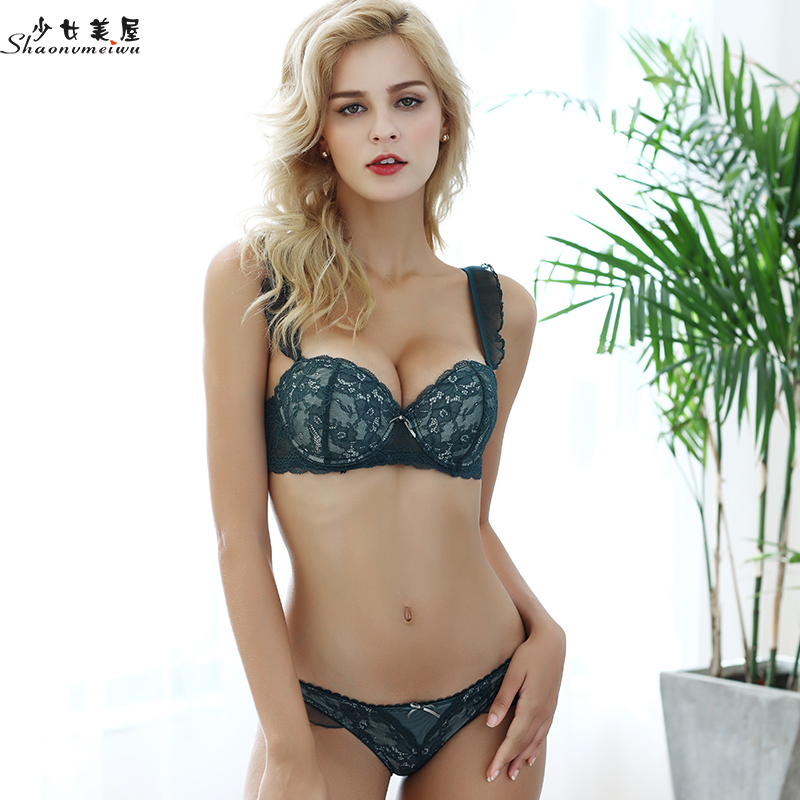 shaonvmeiwu Sexy lace ladies underwear and   bra     set   gathered in a thin cup shoulder   bra   with thin steel loops