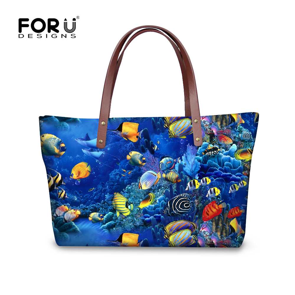 Tropical Fish Printing Fashion Women Handbags Female Vintage Large Capacity Shoulder Bag Ladies Casual Hand Bags Bolsa Feminina osmond women handbags 2017 simple canvas shoulder bags casual vintage solid hobos bolsa feminina large capacity ladies tote bag