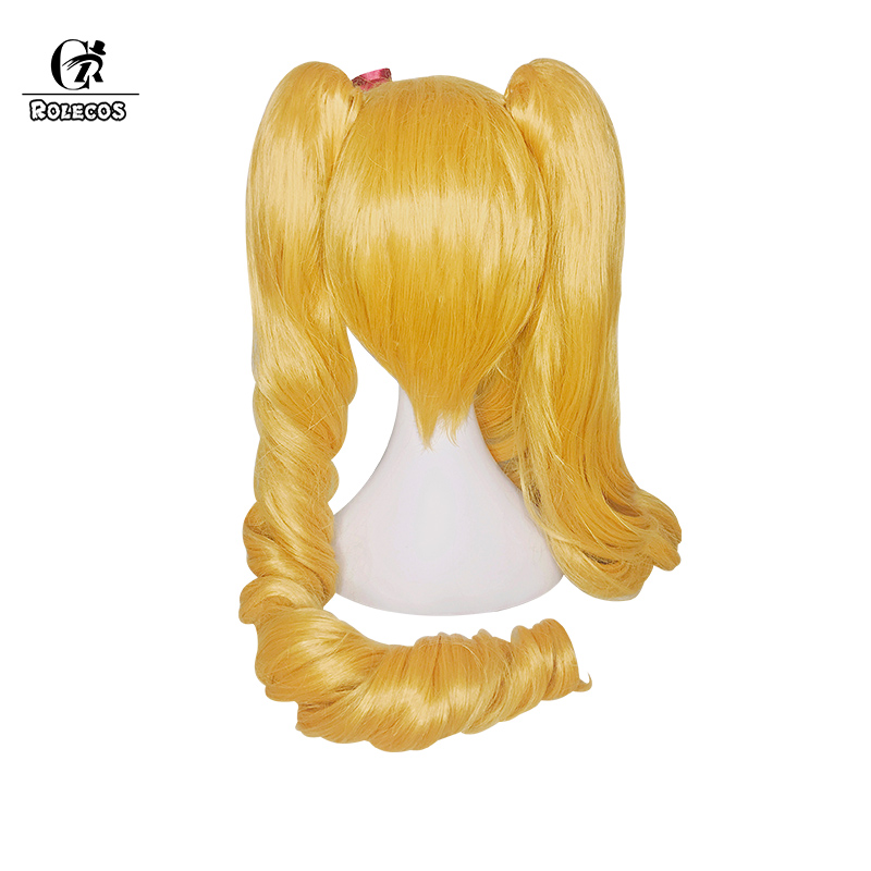 ROLECOS Jinx LOL Cosplay Christmas Rascal Jinx Synthetic Hair Cospaly Headwear Long Blonde Wave Synthetic Hair 100cm