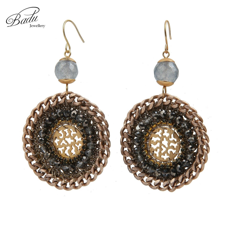 Badu Handmade Round Aluminum Chain Crystal Crochet Copper Sheet Fashion  Earrings