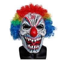 X-MERRY GIOCATTOLO Spaventoso Splendida Parrucca Clown Maschera di Halloween Costume di Lattice Maschera di Carnevale Prop