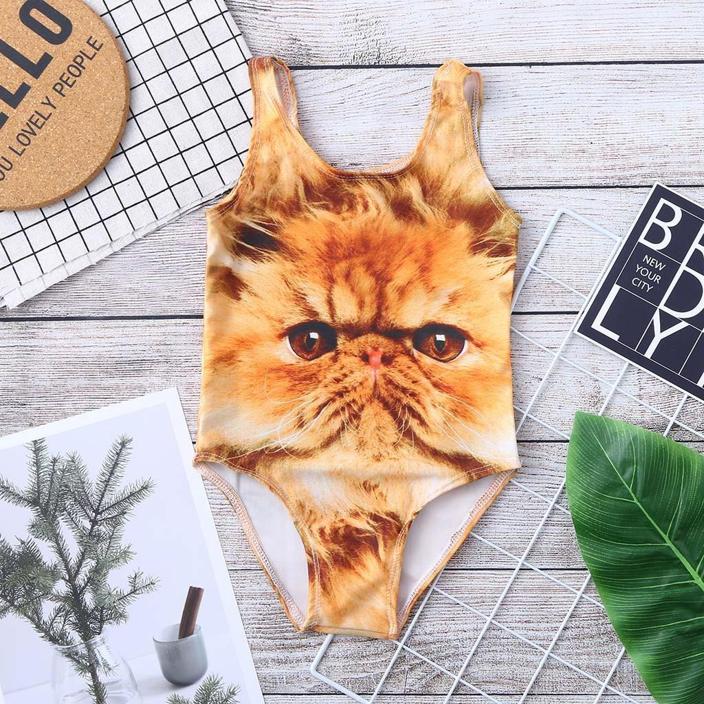 2019 Summer Swimwear For Girls Toddler Baby Kids Girl Cat 3d Digital Print Swimwear Swimsuit Beach Romper Clothes Swimsuit