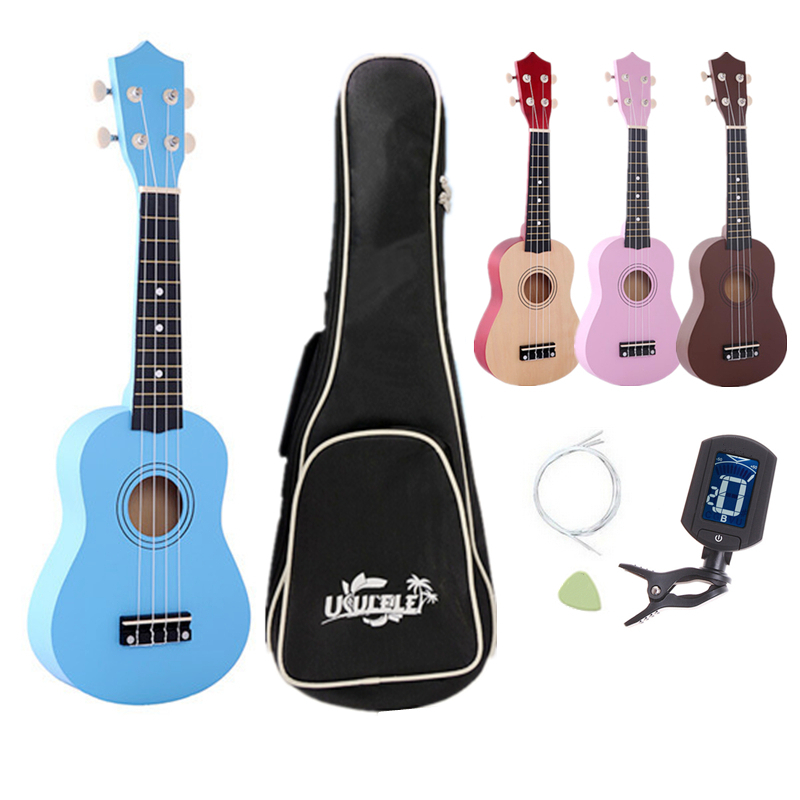 21 Inch Basswood Ukulele Hawaii Four String Guitar+ Bag + Tuner+ Strings + Pick for Beginners Children Toy Gifts
