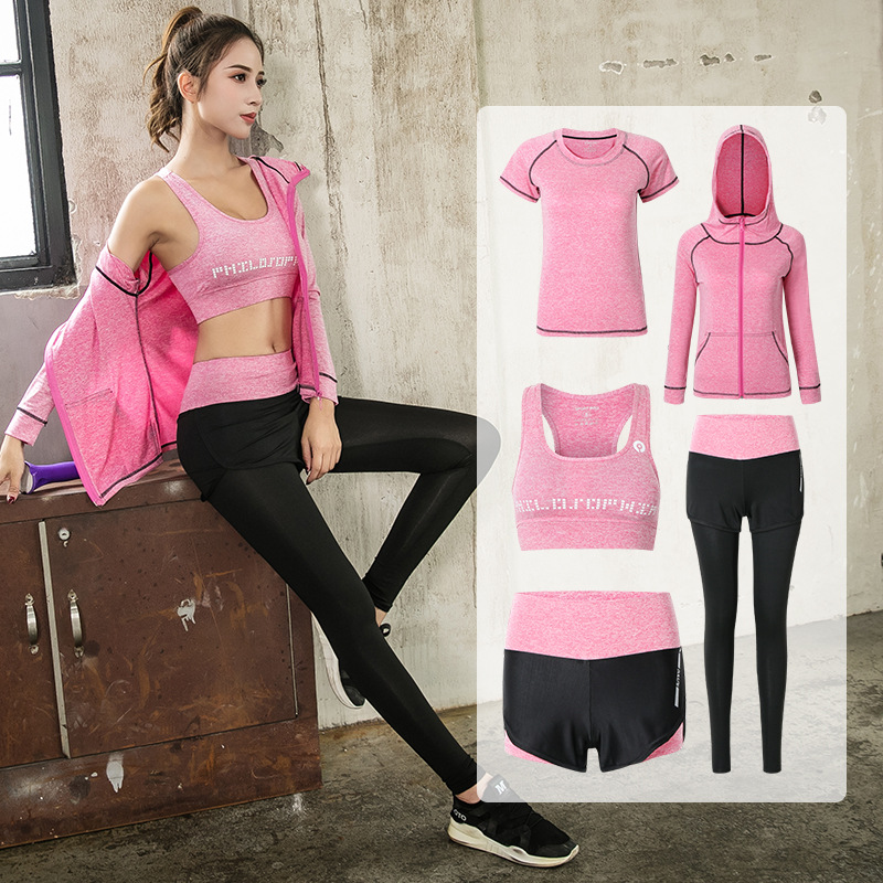 5 in 1 Sport Jacket+T shirt+Bra+shorts+Pants Quick Dry Girls Breathable Yoga Suits Running Suit Gym Jogging Sport Set Autumn XXL new yoga suit fitness sportswear running exercise tracksuits for women yoga sets breathable jacket t shirt bra pants sport suits