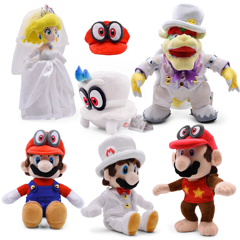 Anime Super Mario Odyssey Bros Wedding Dress Bowser Koopa Cappy Peach Peluche Doll Plush Soft Stuffed Toy Christmas Gift