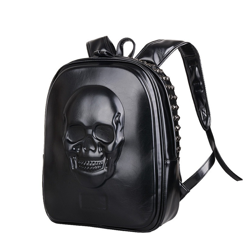 Women Leather Backpacks 3d Skull Casual Balck Men Large Capacity Laptop Teenager School Ladies Travel Bag Gift