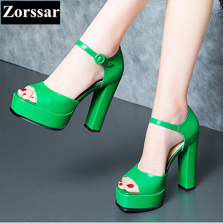 {Zorssar} Brand Green, black Genuine leather Summer Womens shoes Sandals High heels peep toe platform pumps women heels shoes zorssar brand 2017 high quality sexy summer womens sandals peep toe high heels ladies wedding party shoes plus size 34 43