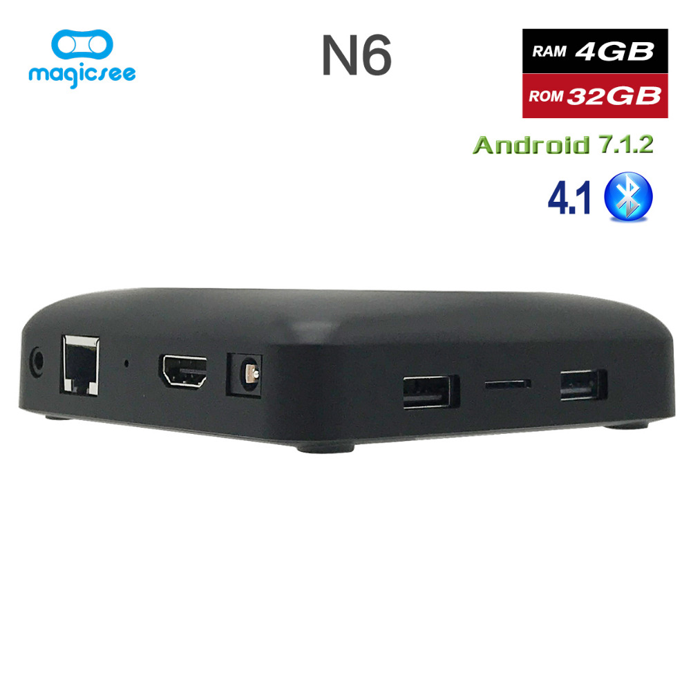 Magicsee N6 Max RK3399 Android 7.1 TV BOX 4G 32G Rom 2.4 + 5G double Wifi 1000M LAN BT 4.1 Smart Box 4K décodeur - 6