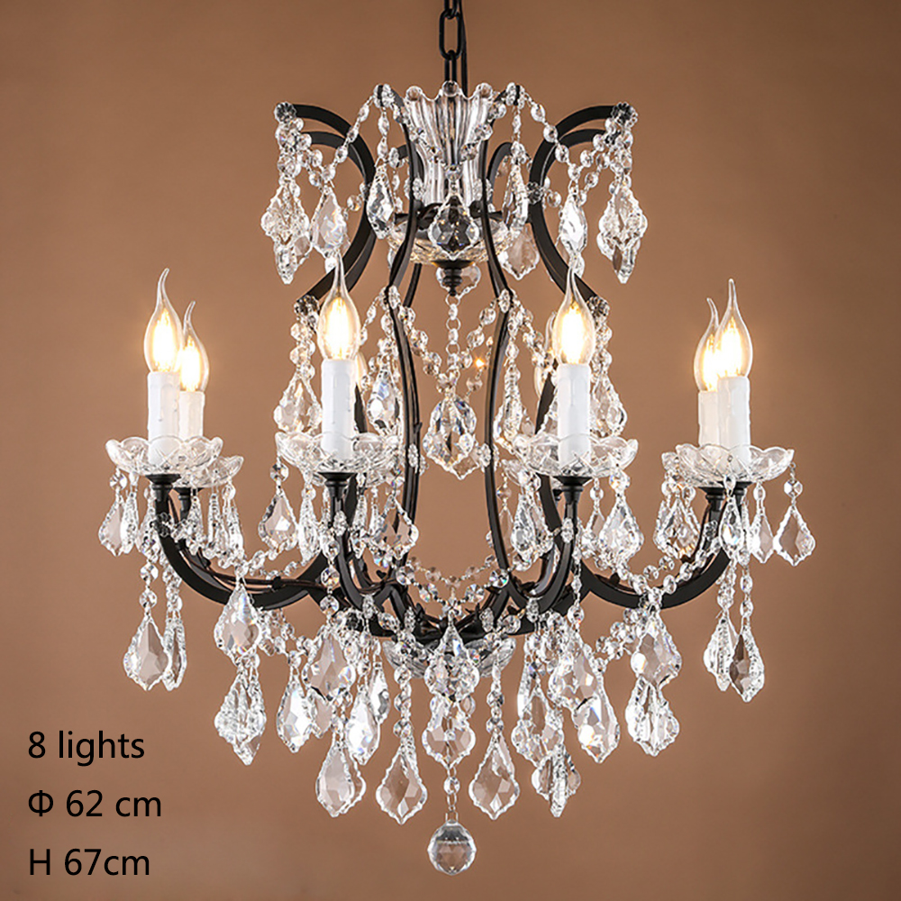 Retro Antique Crystal Drops Chandeliers Large French
