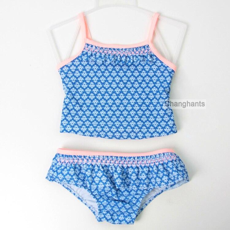Baba lányok 2 darab fürdőruha kék geometriai virágmintás 2-6Y - Sportruházat és sportolási kiegészítők
