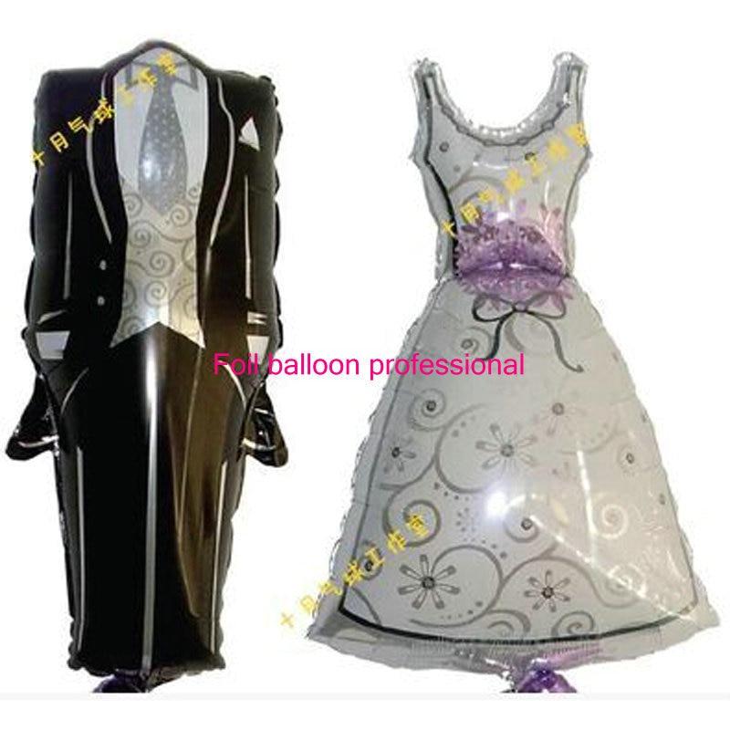 2pcs/lot Spongebob Bride and Groom Dress Shape Foil Balloons Design Party Wedding Birthday Decoration air balloons