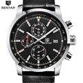 Benyar esporte mens relógios top marca de luxo quartz chronograph watch relógio todos os pequenos mostradores estão trabalhando