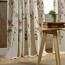Flores de Algodón Bordado Cortina de la Sala de estar Dormitorio Ventanas