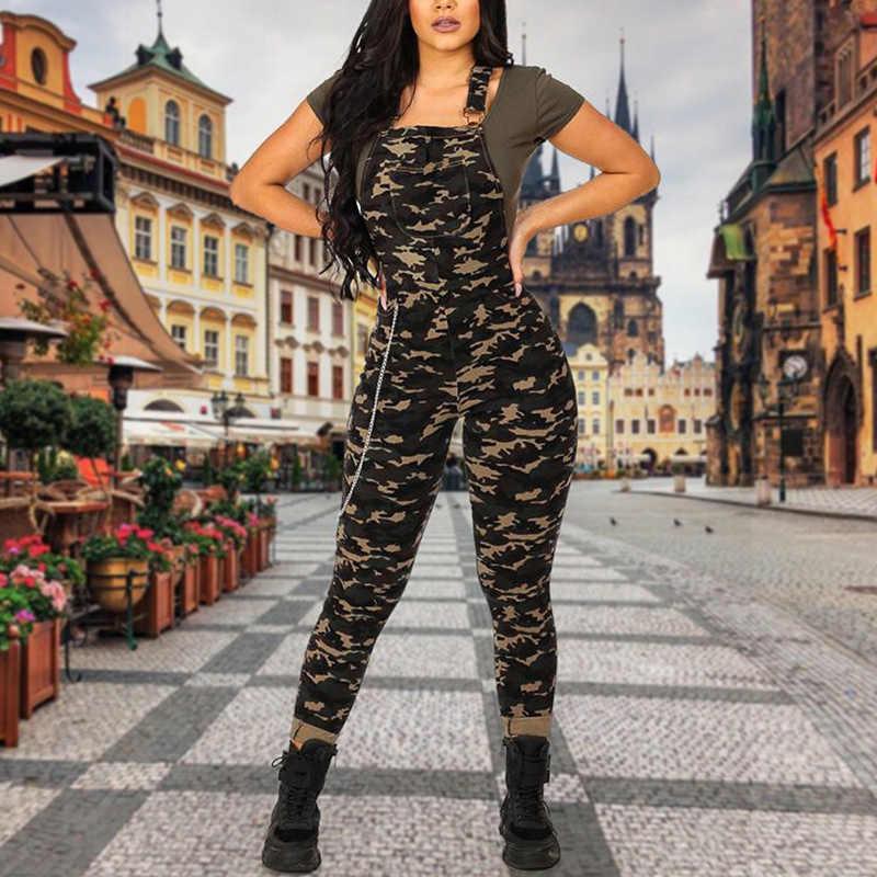 Комбинезон на подтяжках с бретельками без рукавов, камуфляжные длинные брюки, женский комбинезон с карманами, на молнии сзади, уличная одежда JUM