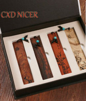 Classical Chinese Wood Bookmarks Vintage Design Diy Office Accessories Gift Box Office School Supplies Stationery Dd200
