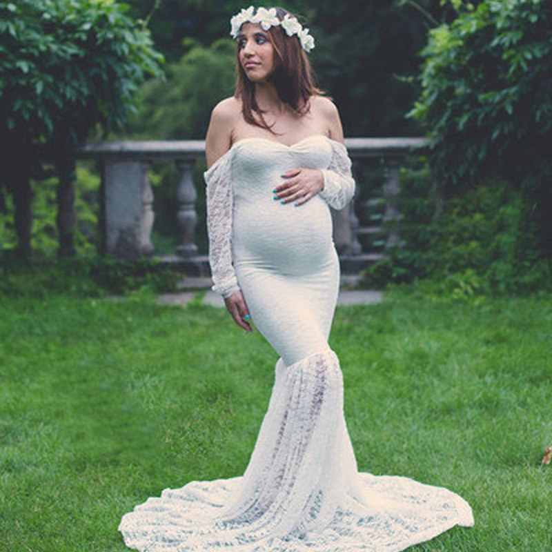 f410fda7275f3 VOGUEON Women Photography Pregnant Dress Long Sleeve Lace Maxi Ball Gown  Lady Summer Beach Clothes Woman Maternity Evening Dress