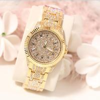 Новинка 2017 мода из нержавеющей стали, золото и серебро ленты кварца Wtach роскошный подарок ко Дню Святого Валентина кристалл алмаза часы