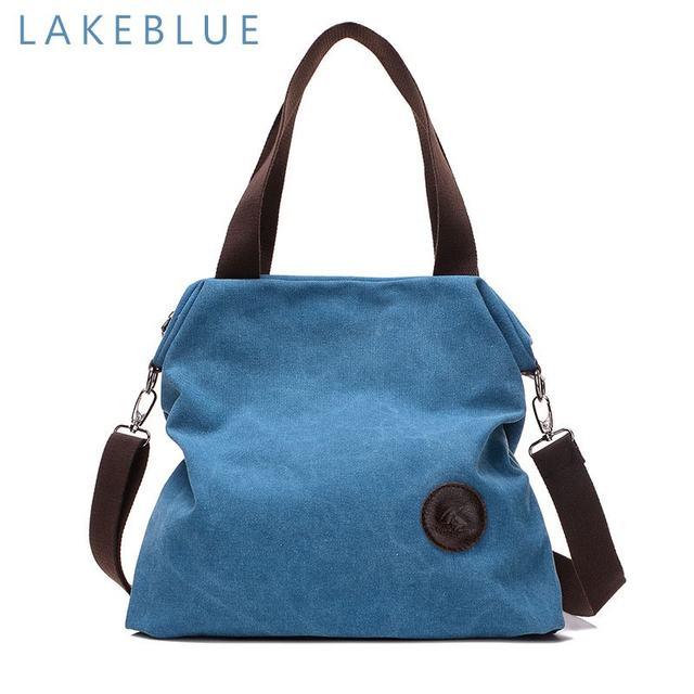 2019 Kvky Brand Large Pocket Casual Tote Women's Handbag Shoulder Handbags Canvas Leather Capacity Bags For Women