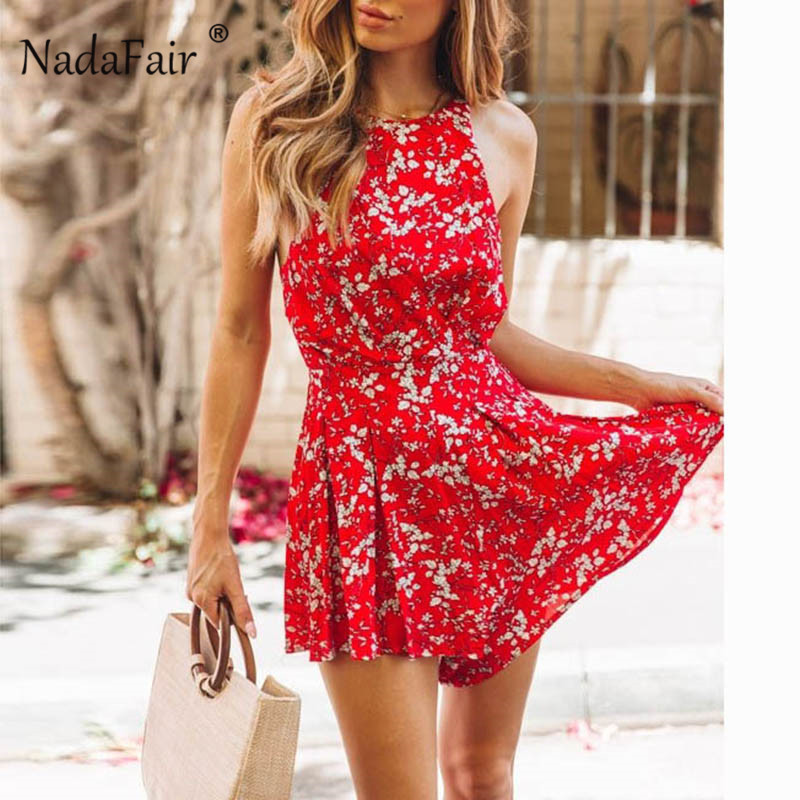 Nadafair boho floral print playsuit women backless vintage strap sexy summer   jumpsuits   womens rompers beach party overalls