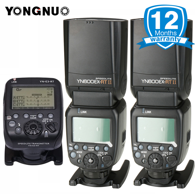 YONGNUO Official YN600EX-RT II Wireless 1/8000s TTL Flash Speedlite w YN-E3-RT Transmitter for Canon as 600EX-RT YN600EX RT II yongnuo yn e3 rt 2 4g 16 ch wireless speedlite transmitter black 2 x aa