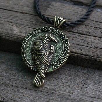 Lanseis 1 cái bắc âu lá bùa viking raven mặt dây chuyền con chim màu đen celt crow vòng cổ người đàn ông mặt dây chuyền đồ trang sức